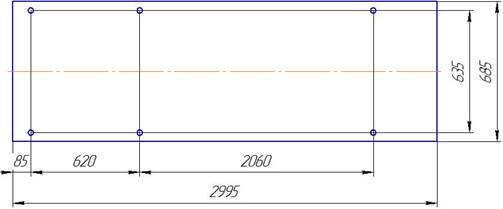 Установочный чертеж фундамента станка 16К20