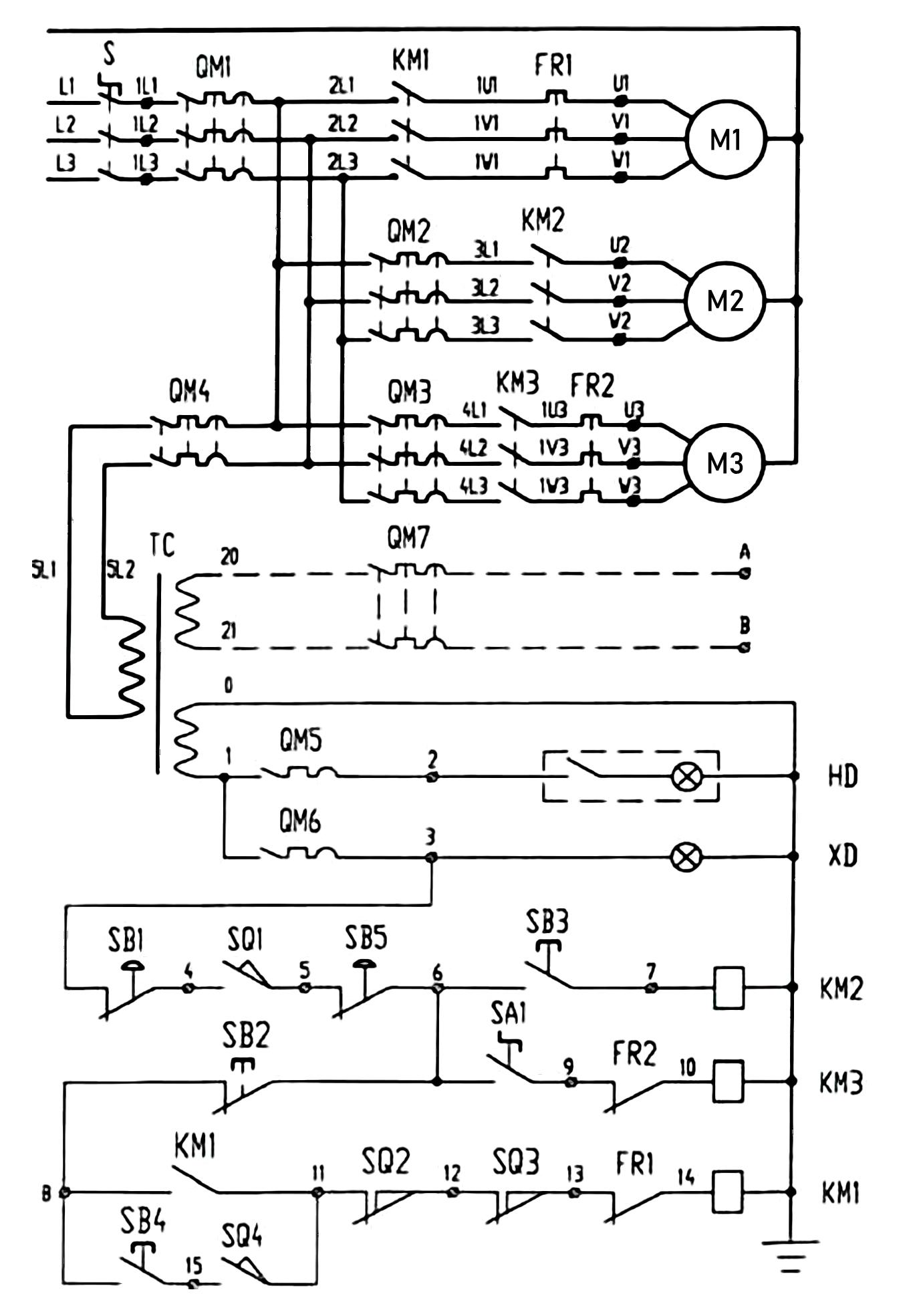 Схема электрическая принципиальная станка токарно-винторезного 1М63Н.01