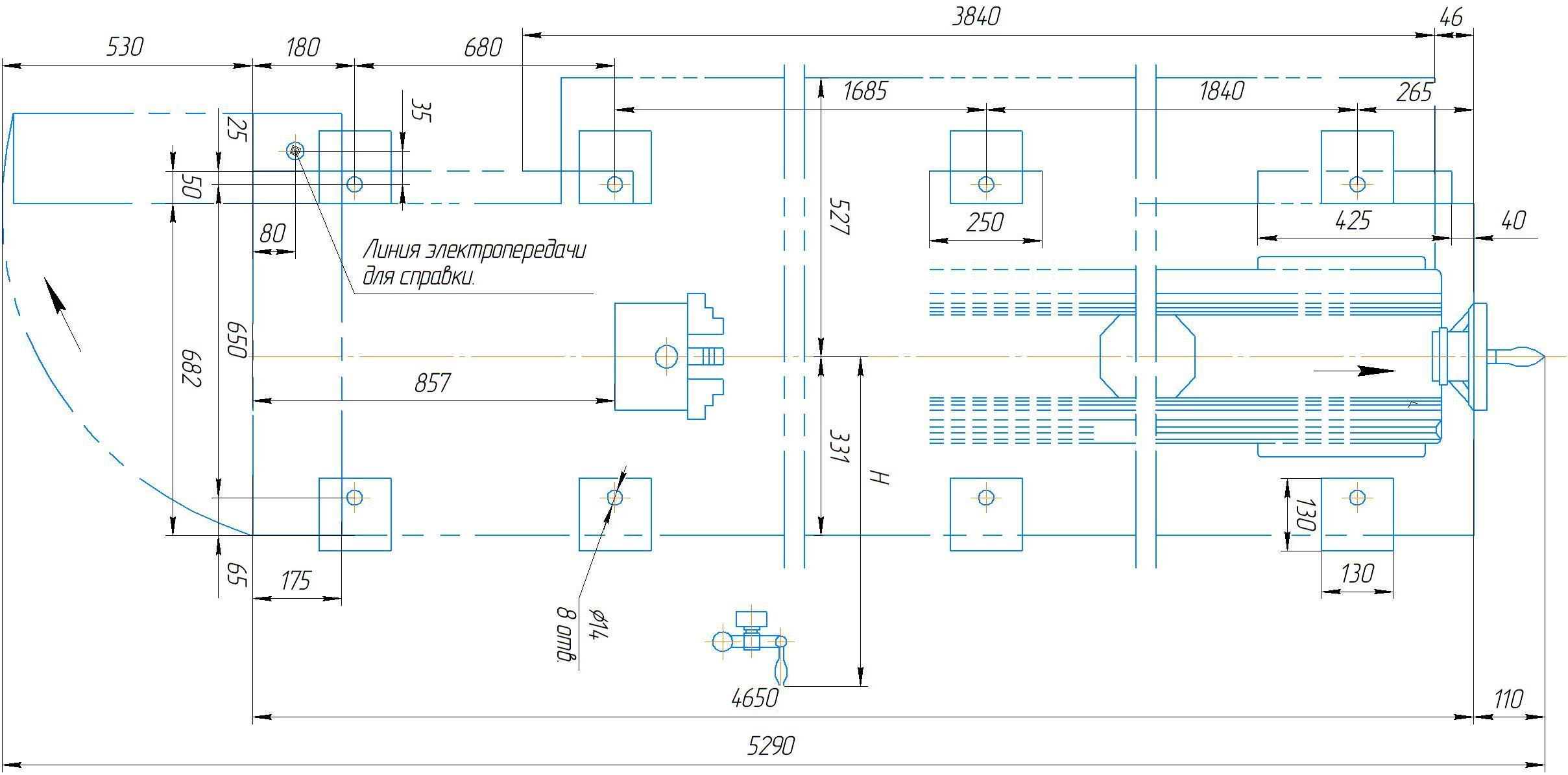 Установка токарно-винторезного станка 1М63Н.01