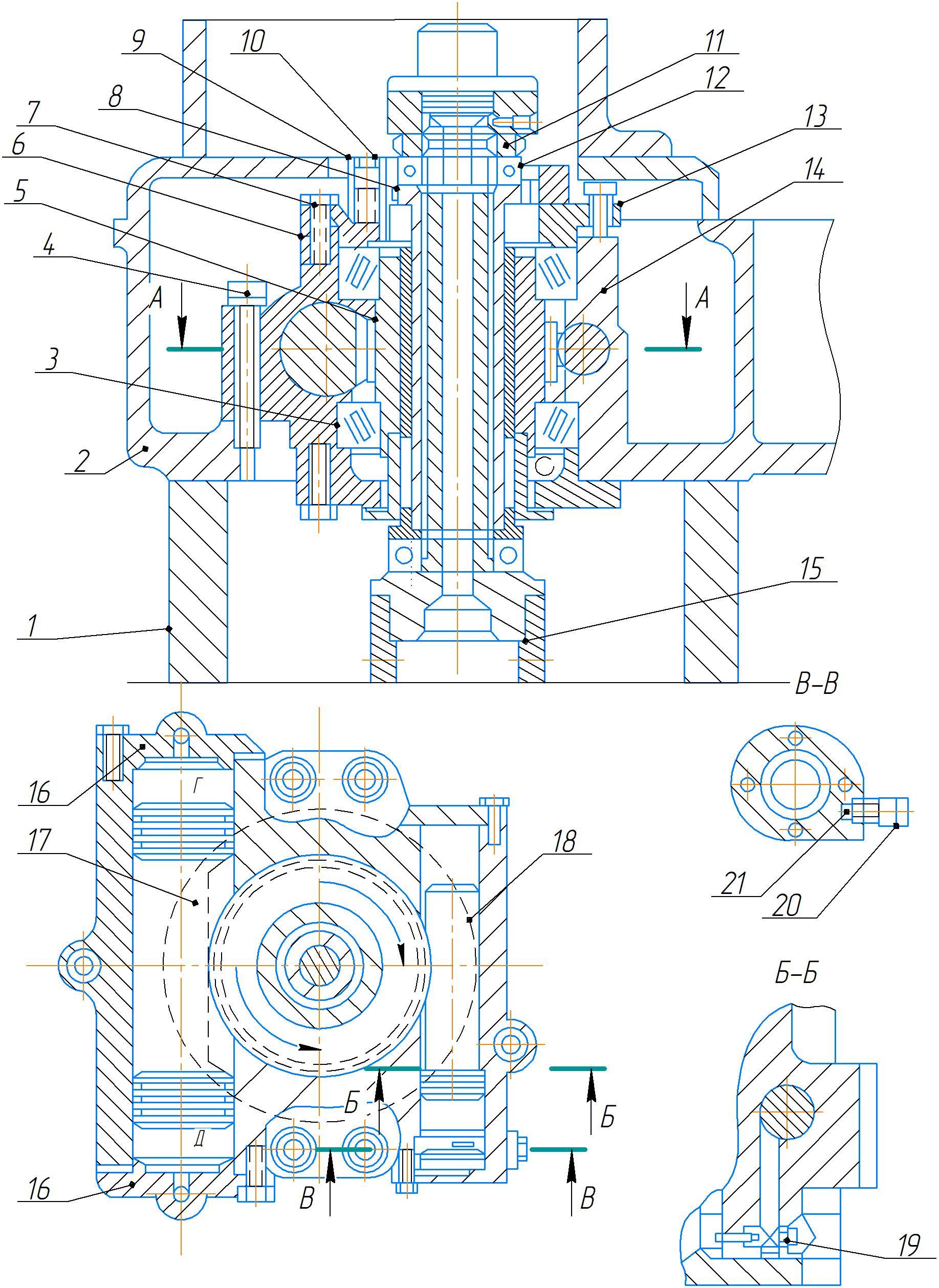 Механизм зажима колонны станка 2А554