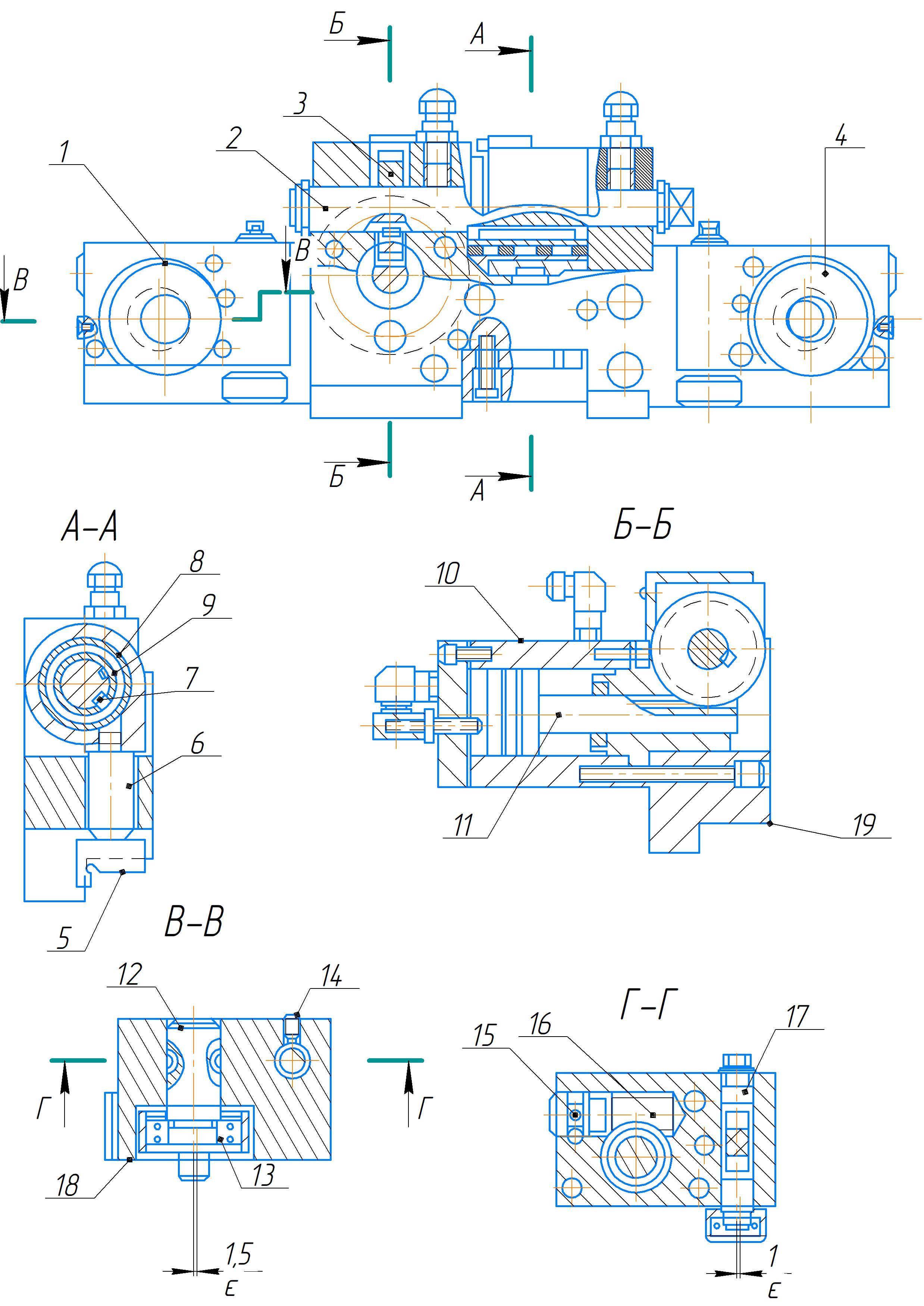 Механизм зажима сверлильной головы станка 2А554