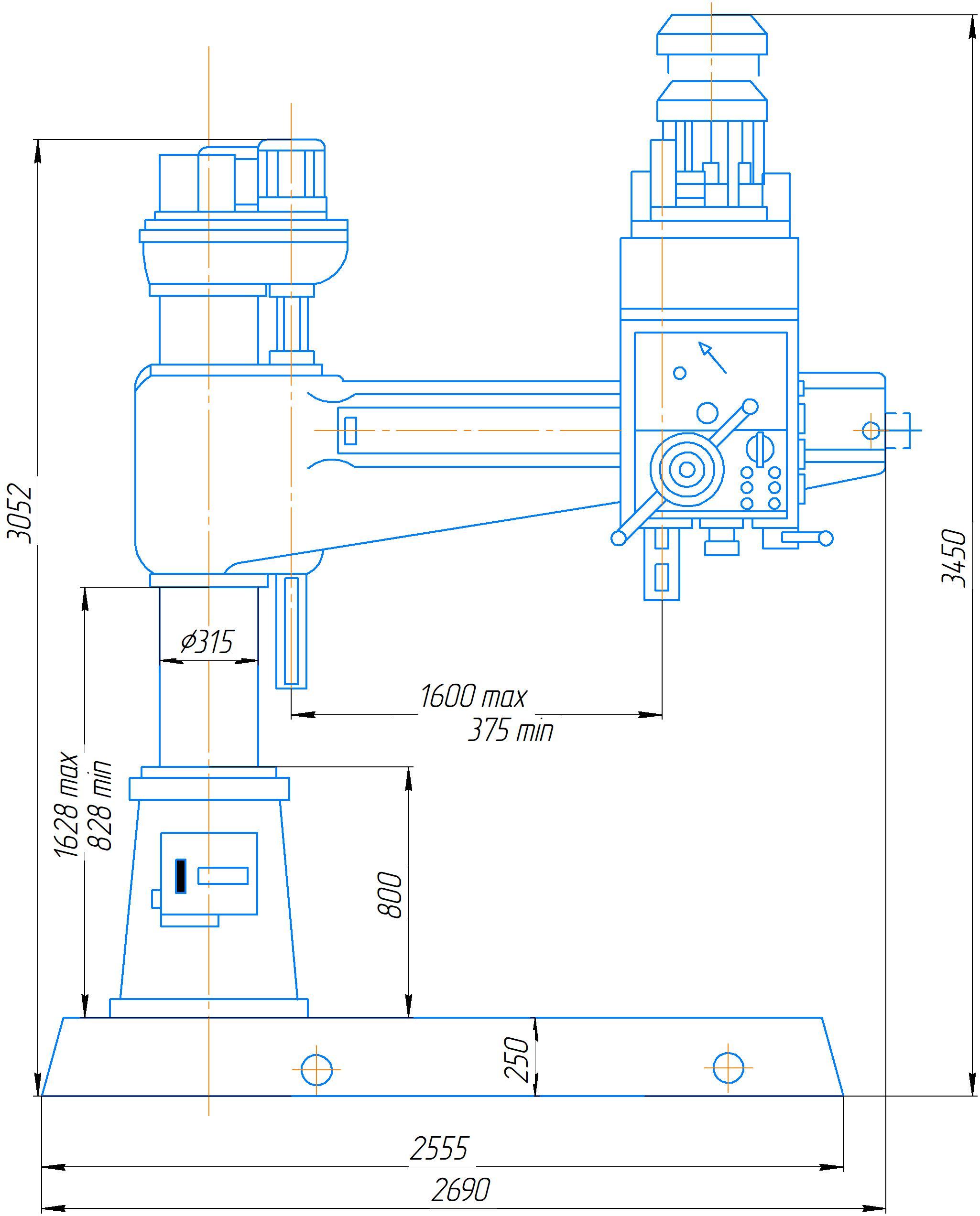 Габаритные размеры станка 2А554МП