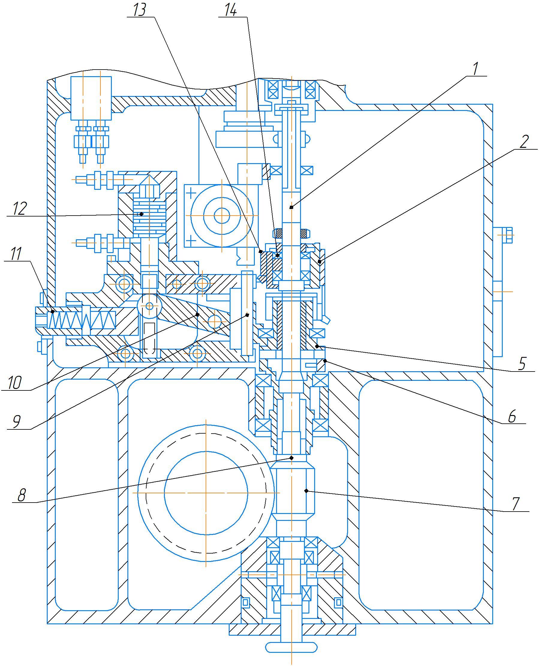 Вертикальный червячный вал механизма подачи станка 2А554