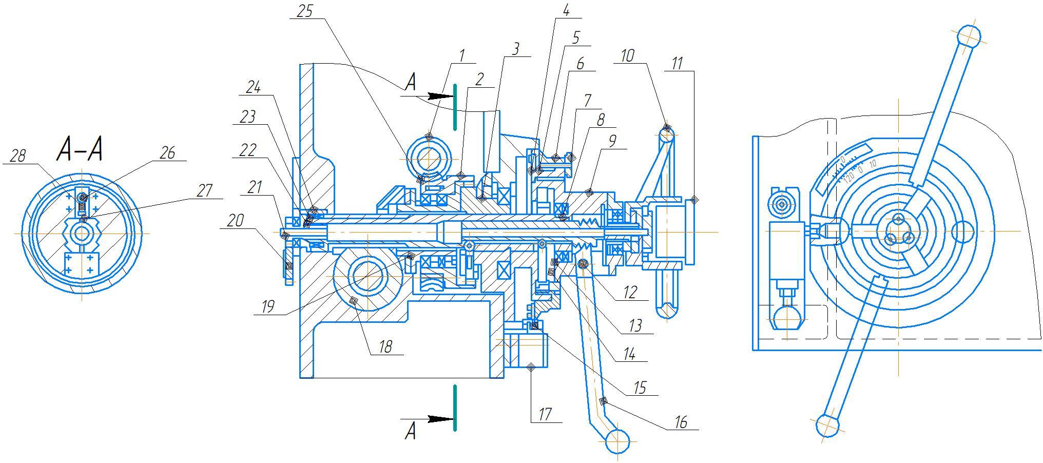 Горизонтальный вал механизма подачи станка 2А554
