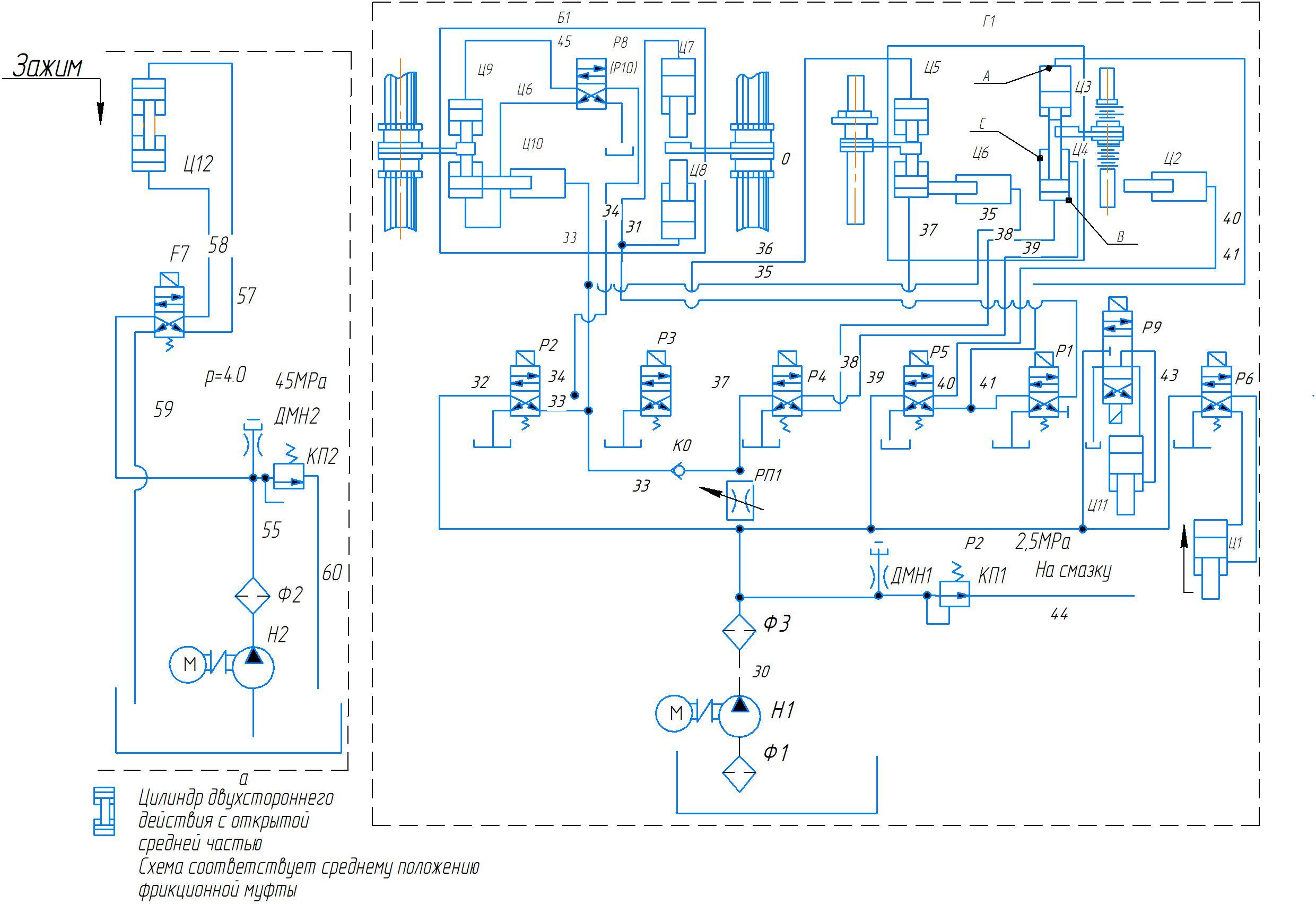 Схема гидравлическая станка 2А554