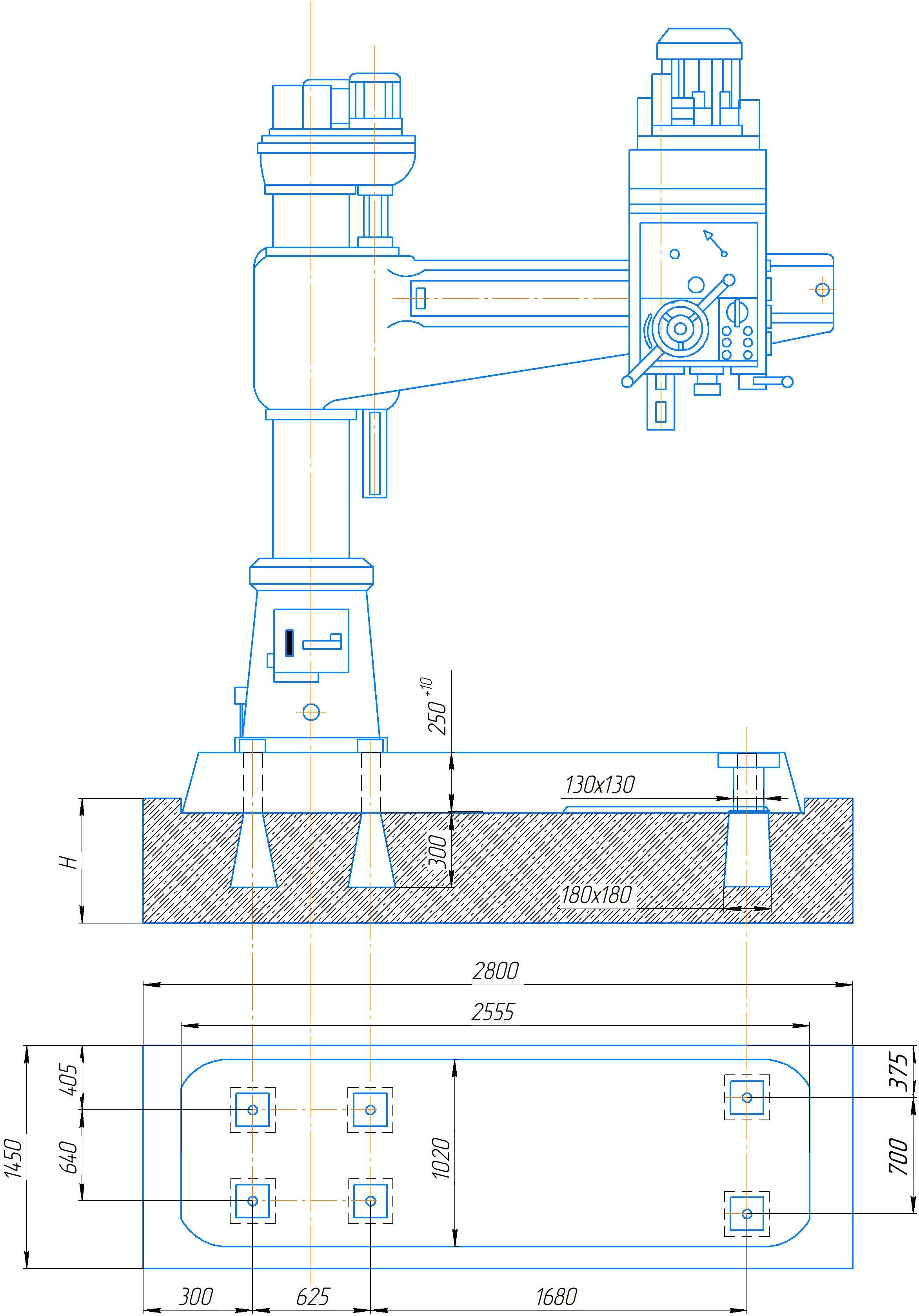 Схема установки на фундамент станка 2А554