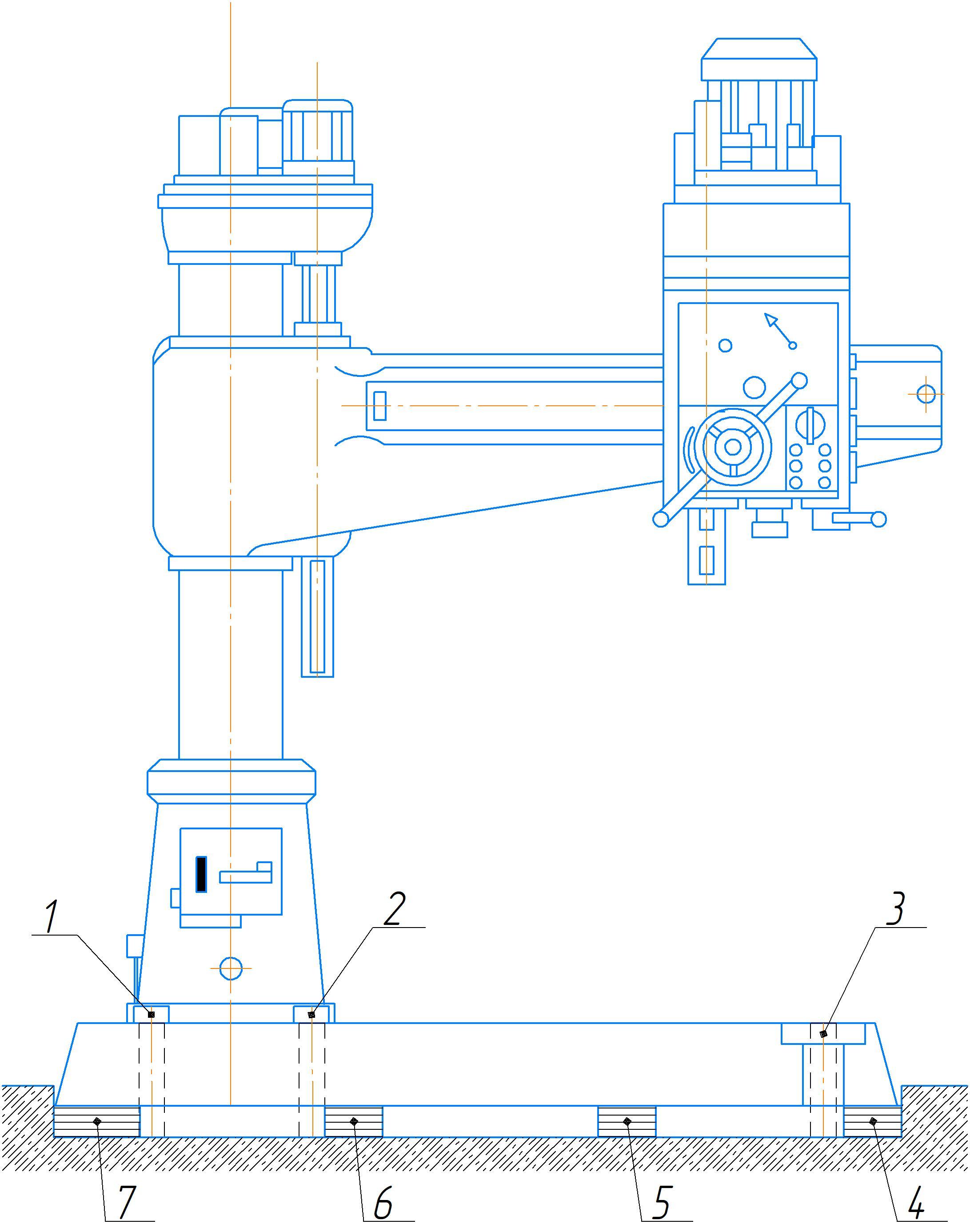 Пояснение к схеме установки на фундамент станка 2А554