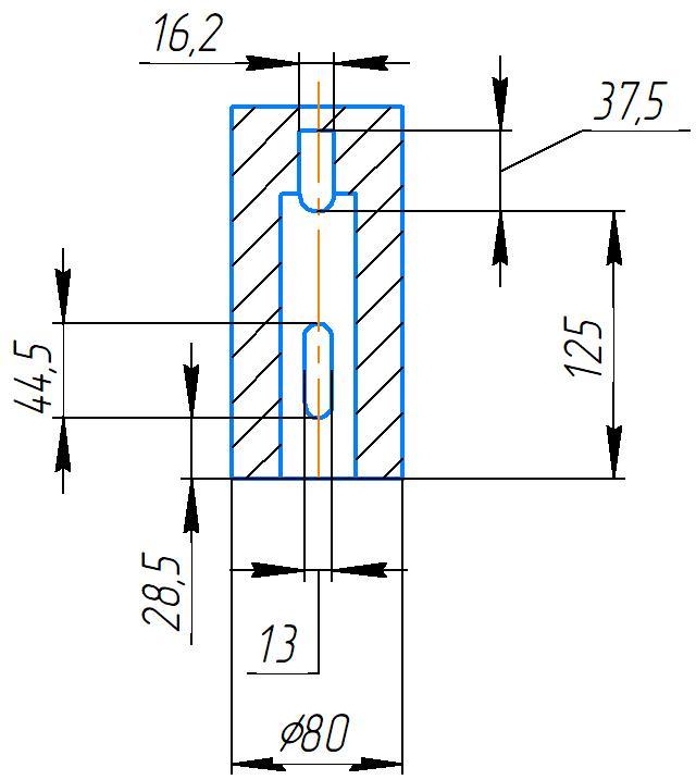 Эскиз шпинделя 2А554МП