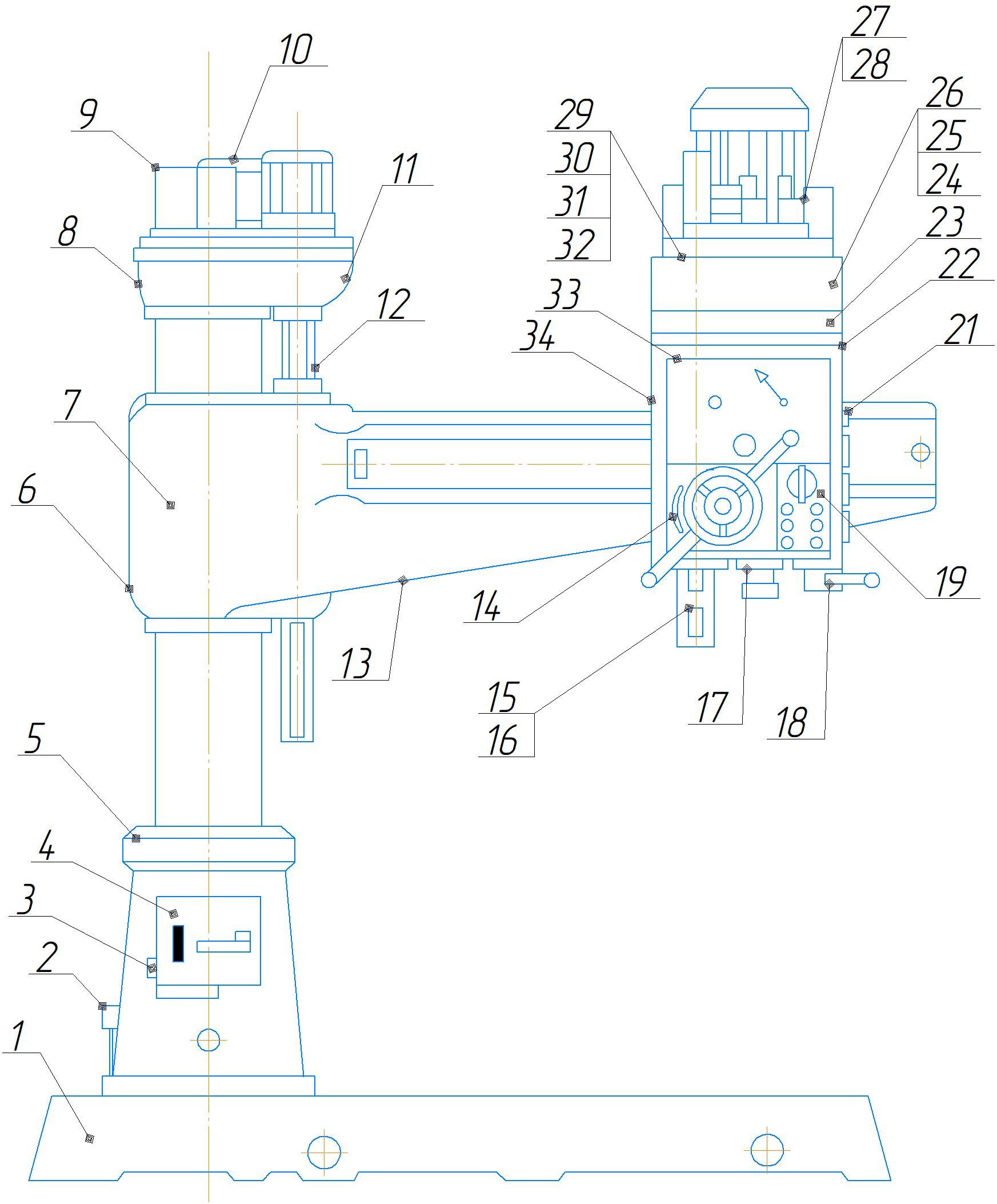 Общий вид с обозначением составных частей станка 2А554