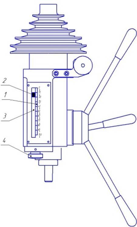 Шкала перемещения шпинделя станка 2М112