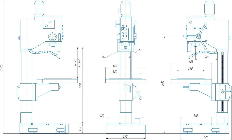 Установочные и присоединительные размеры 2С125МП