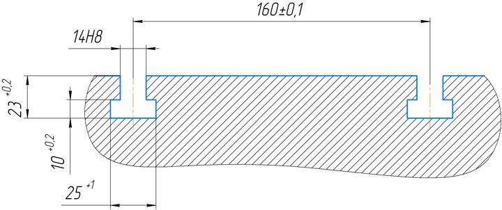 Эскиз Т-образных пазов 2С125МП