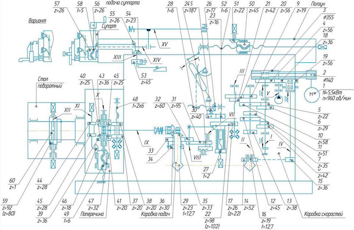 Кинематическая схема станка поперечно-строгального 7305ГТ