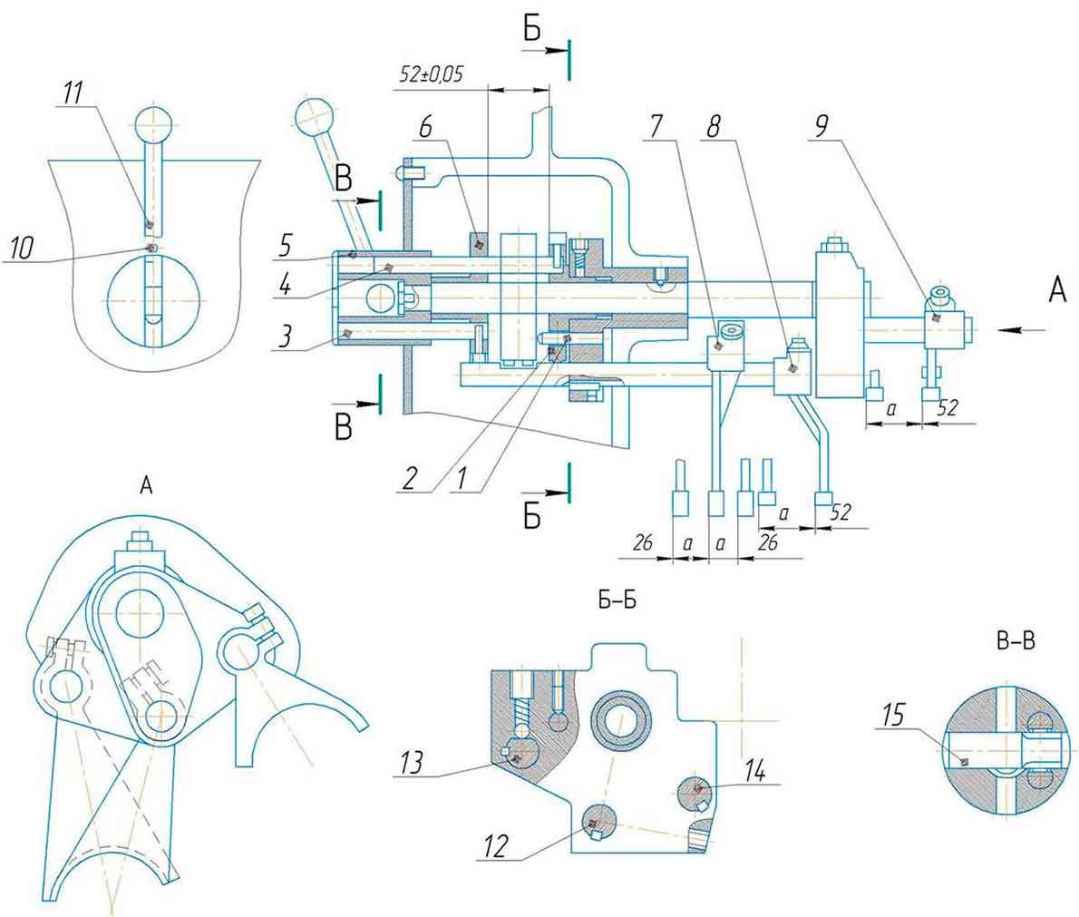 Механизм переключения скоростей станка поперечно-строгального 7305ГТ