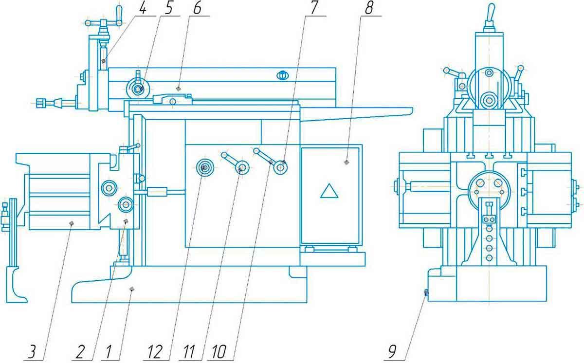 составные части поперечно-строгального станка 7305ТД
