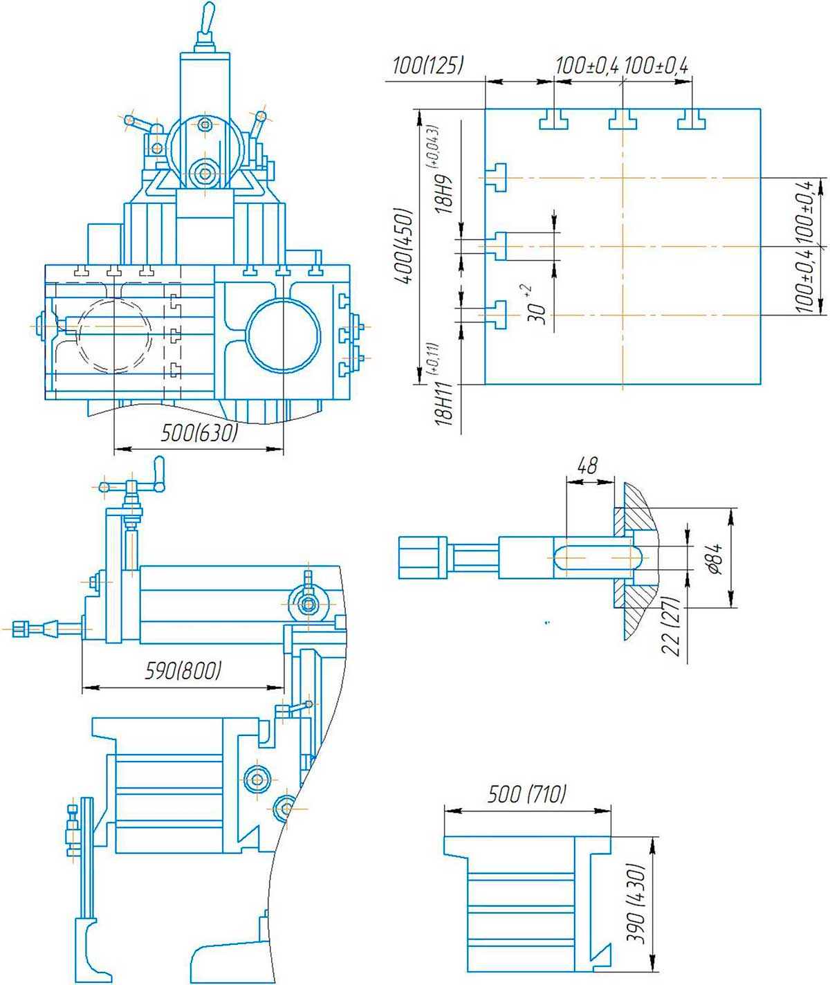 Габаритные размеры поперечно-строгального станка 7307ТД и присоединительные размеры.