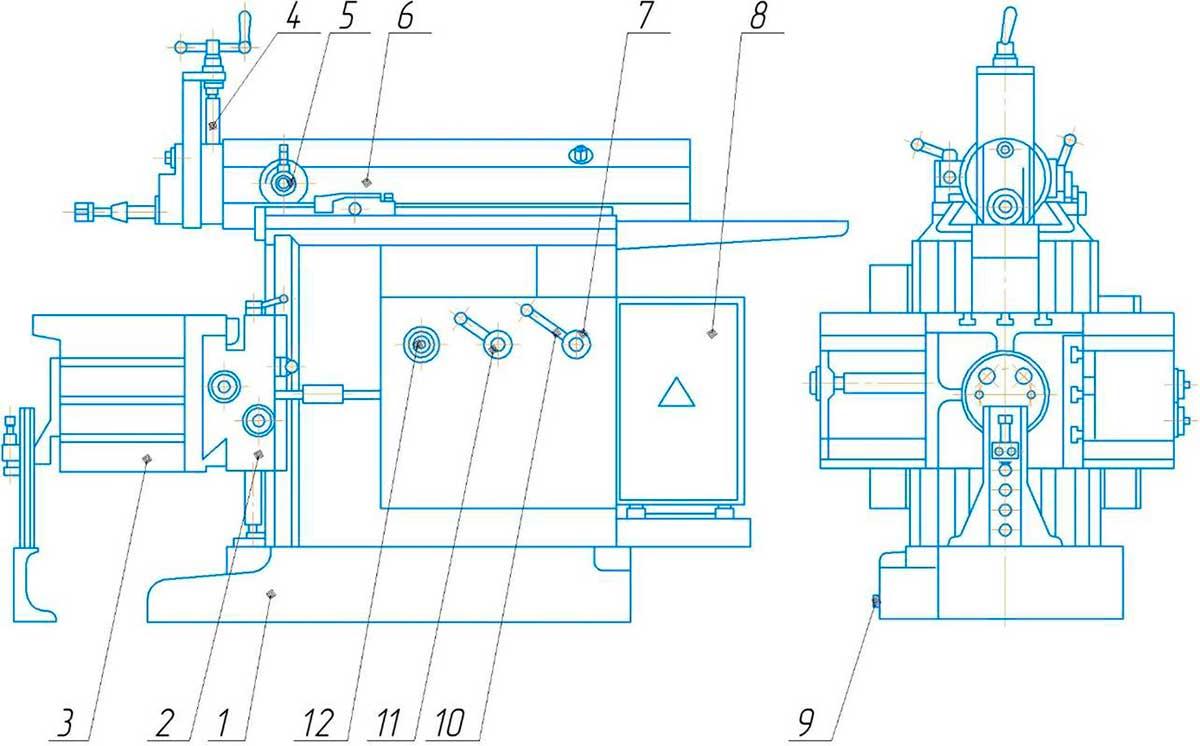 составные части поперечно-строгального станка 7307ТД