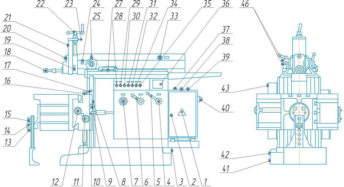 Механизм кулисный поперечно-строгального станка 7307ТД