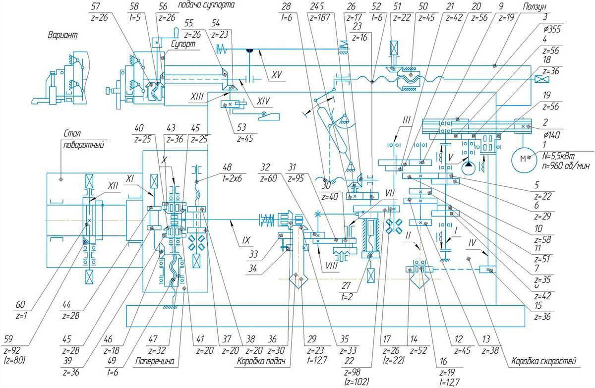 Кинематическая схема станка поперечно-строгального 7307ТД