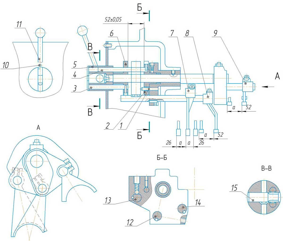 Механизм переключения скоростей станка поперечно-строгального 7307ТД