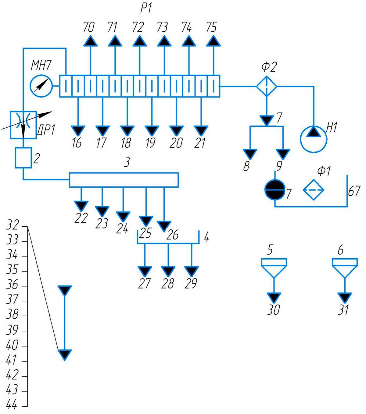 Схема смазки станка поперечно-строгального 7307ТД принципиальная