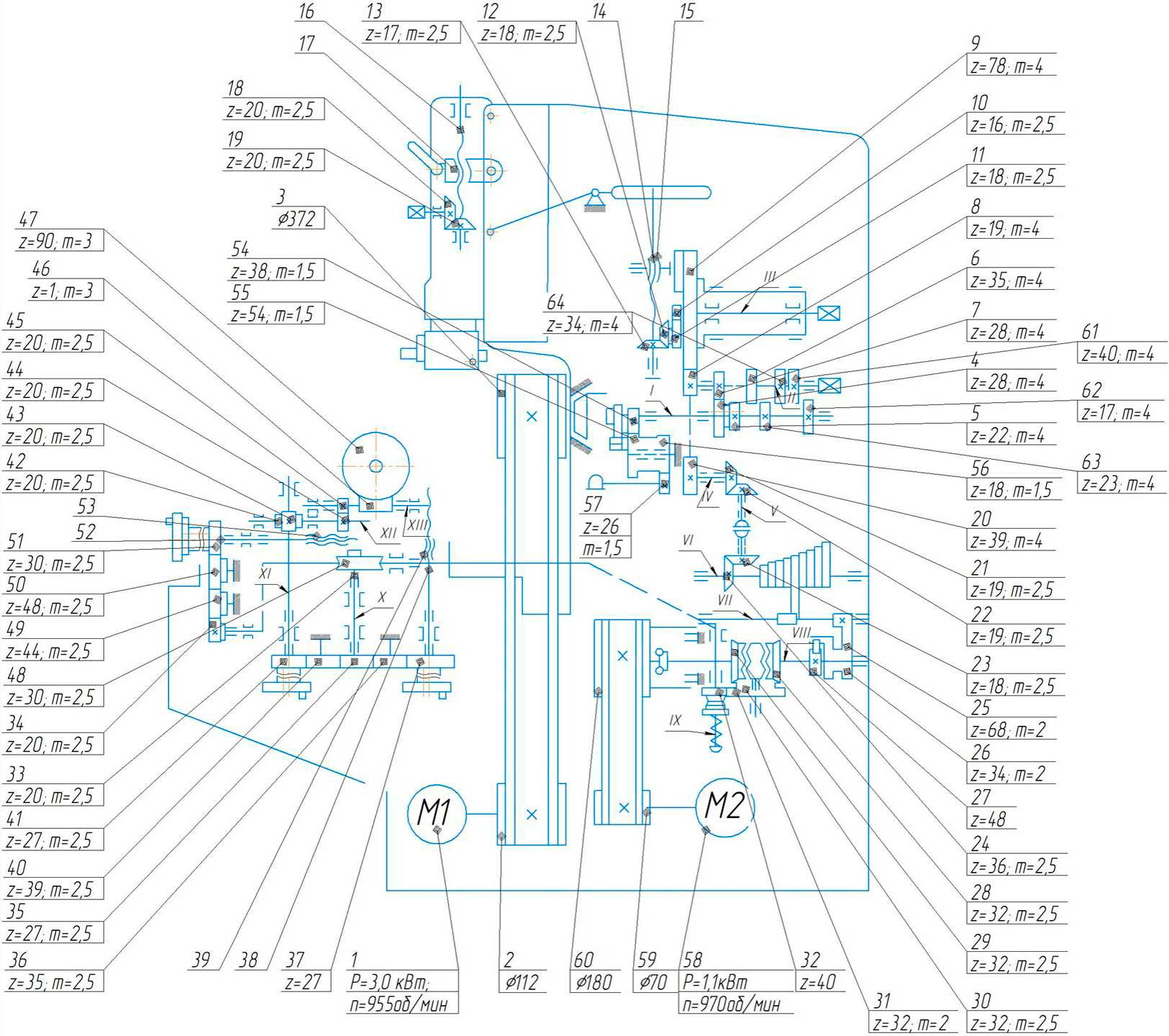 Схема кинематическая станка долбежного 7А420