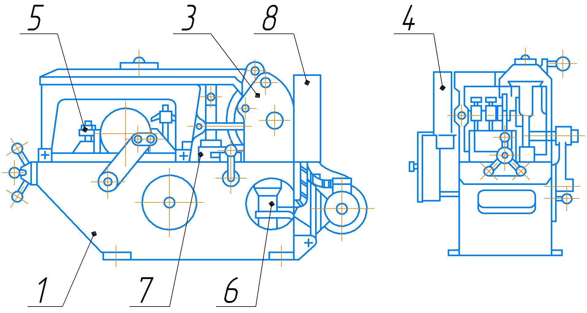 Общий вид станка 8725АМ с обозначением составных частей