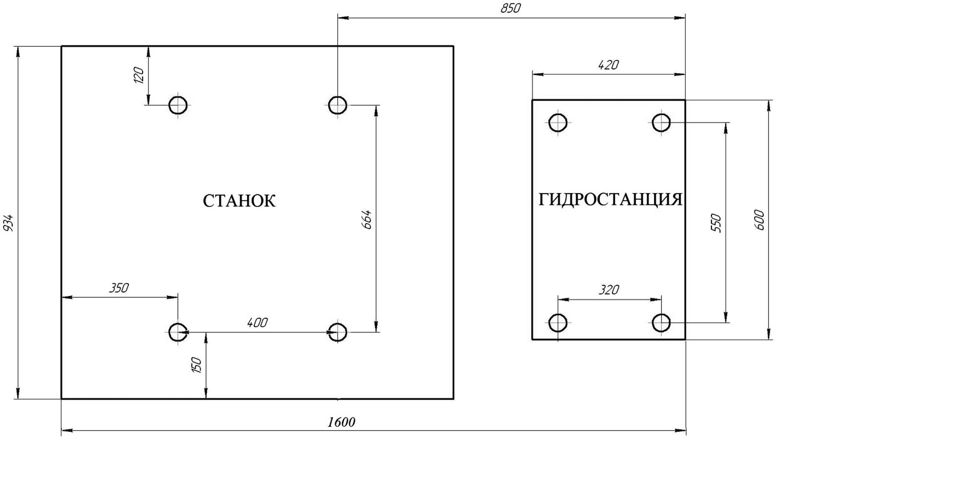 Схема и габаритные размеры фундамента под образивно-отрезной станок 8Г240