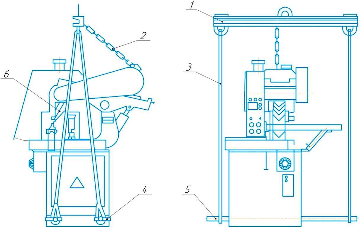 Схема подъема станка абразивно-отрезного станка 8Г240