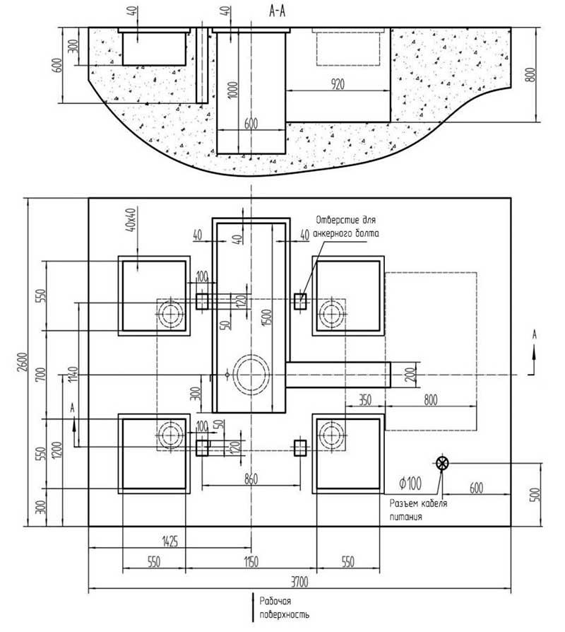 Схема фундамента пресса ДА2235