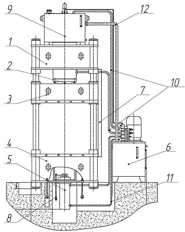 Общий вид с обозначением составных частей пресса ДА1438
