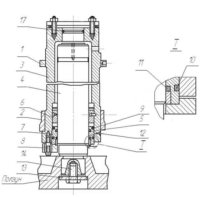 Главный цилиндр плунжерного типа  пресса ДЕ 7732