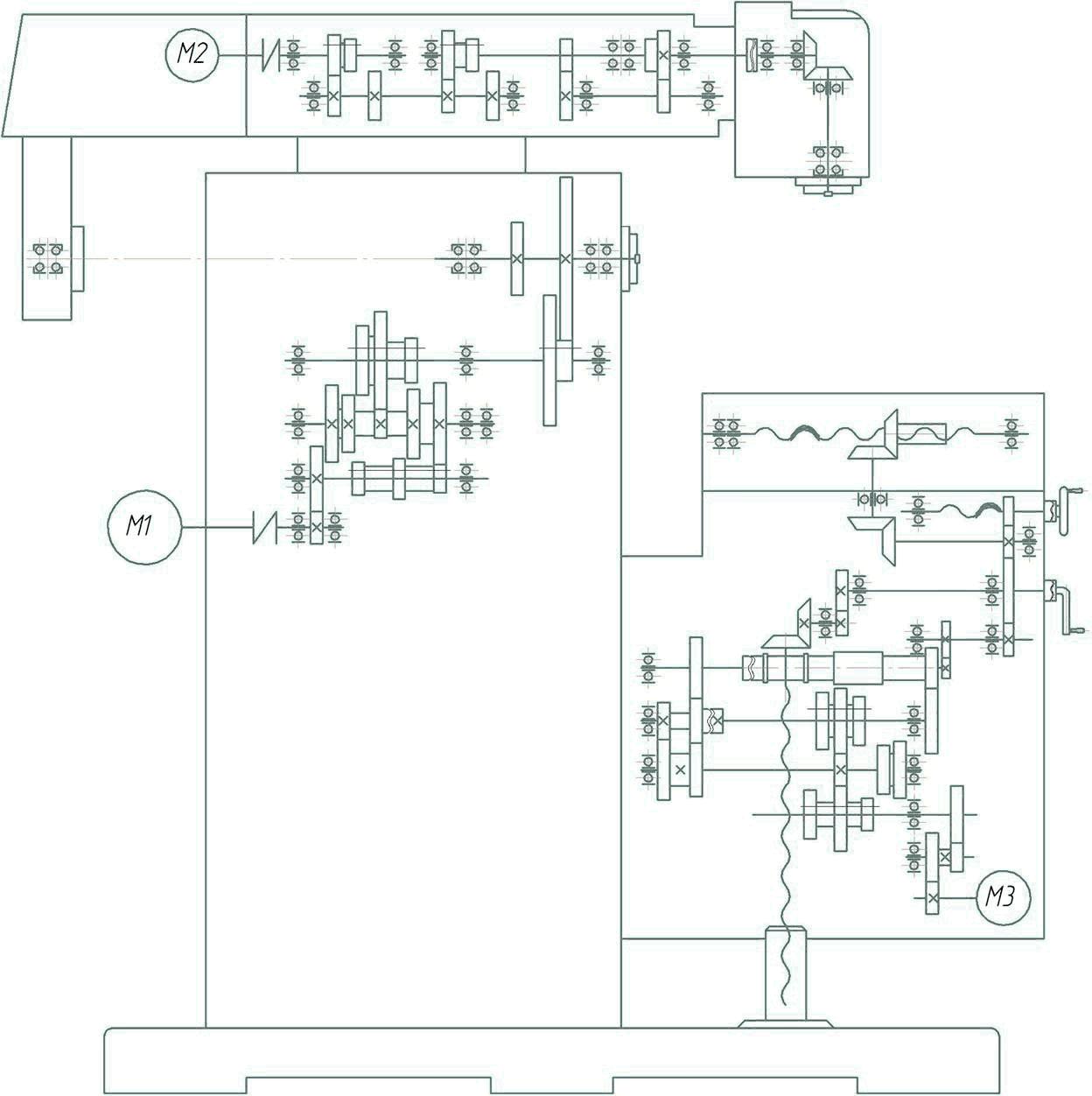 кинематическая схема широкоуниверсального  фрезерного станка ФУ-1600/500