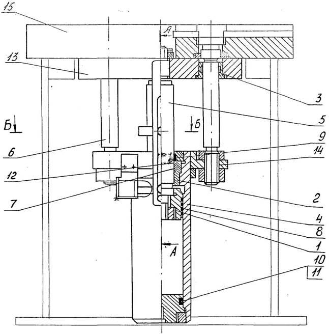 Схема действия гидроподушки  пресса П (ПБ)