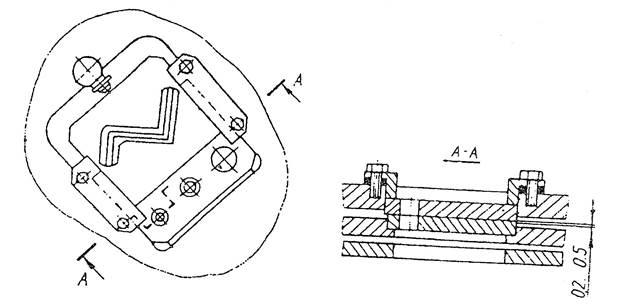 Схема крепления ножевых плит сортовой секции пресс-ножниц   НВ5222