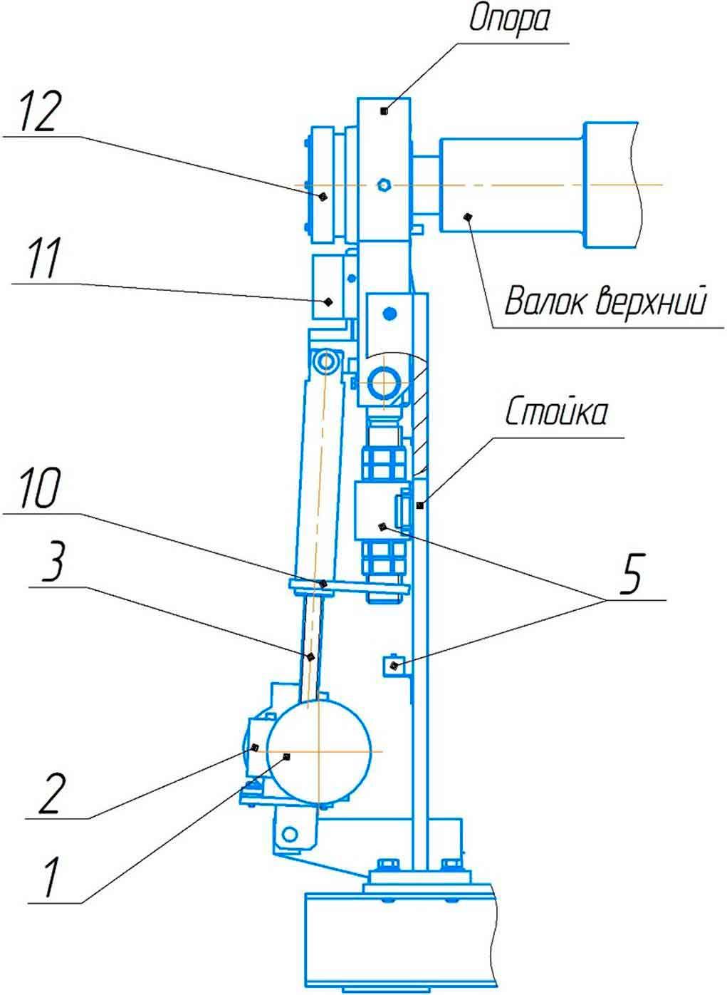 Механизм наклона откидной опоры машины листогибочной ИБ2216