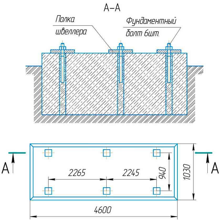 Фундамент под машинулистогибочную  ИБ2223