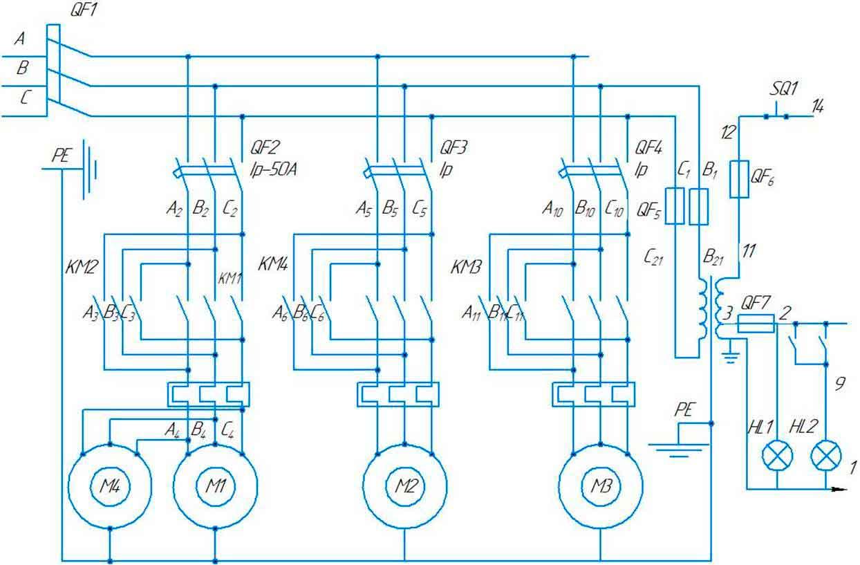 Схема электрическая принципиальнаялистогибочной машиныИБ2223