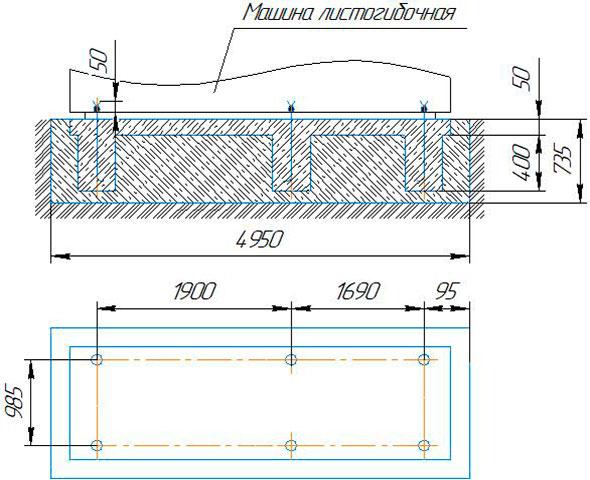фундамент для четырёхвалкового листогиба ИБ2416