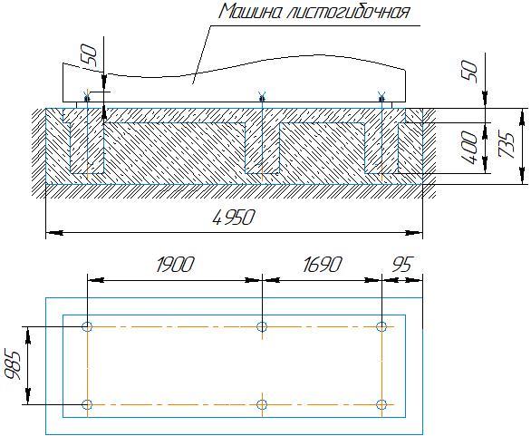 фундамент для четырёхвалкового листогиба ИБ2420