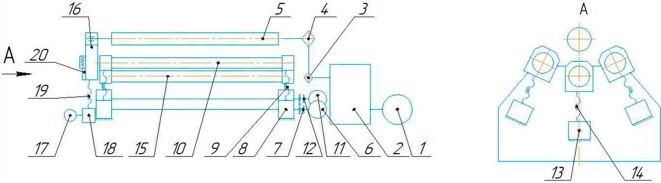 Схема кинематическая   машины листогибочной четырехвалковой ИБ 2422