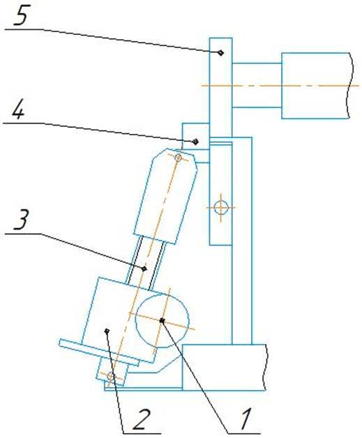 Механизм наклона откидной опоры листогиба ИБ 2422