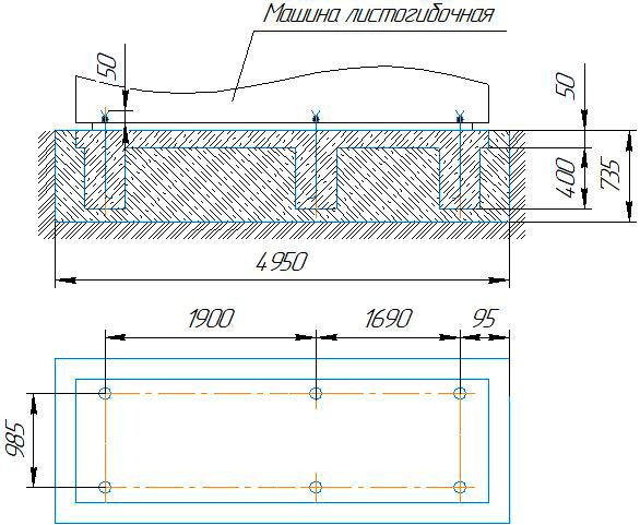 фундамент для четырёхвалкового листогиба ИБ2422