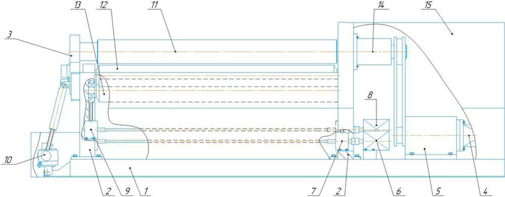 Перечень основных частей машины листогибочной четырехвалковой ИБ 2423