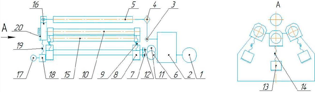 Схема кинематическая   машины листогибочной четырехвалковой ИБ 2423