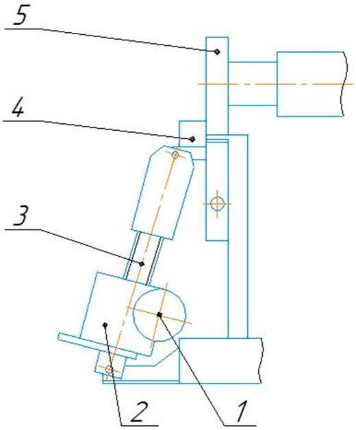 Механизм наклона откидной опоры листогиба ИБ 2423
