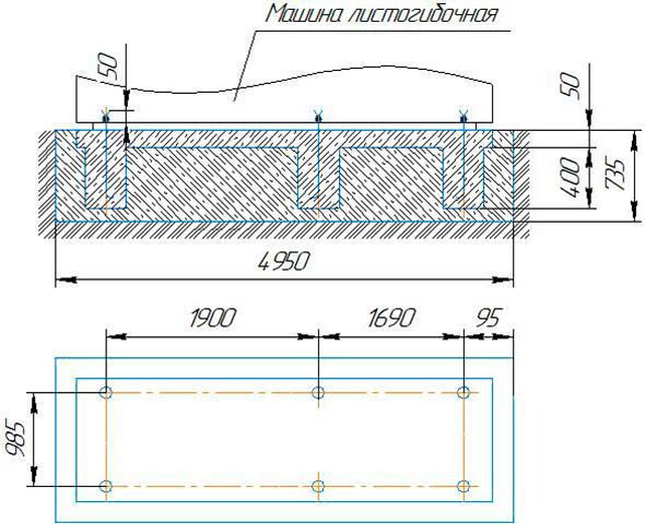 фундамент для четырёхвалкового листогиба ИБ2423