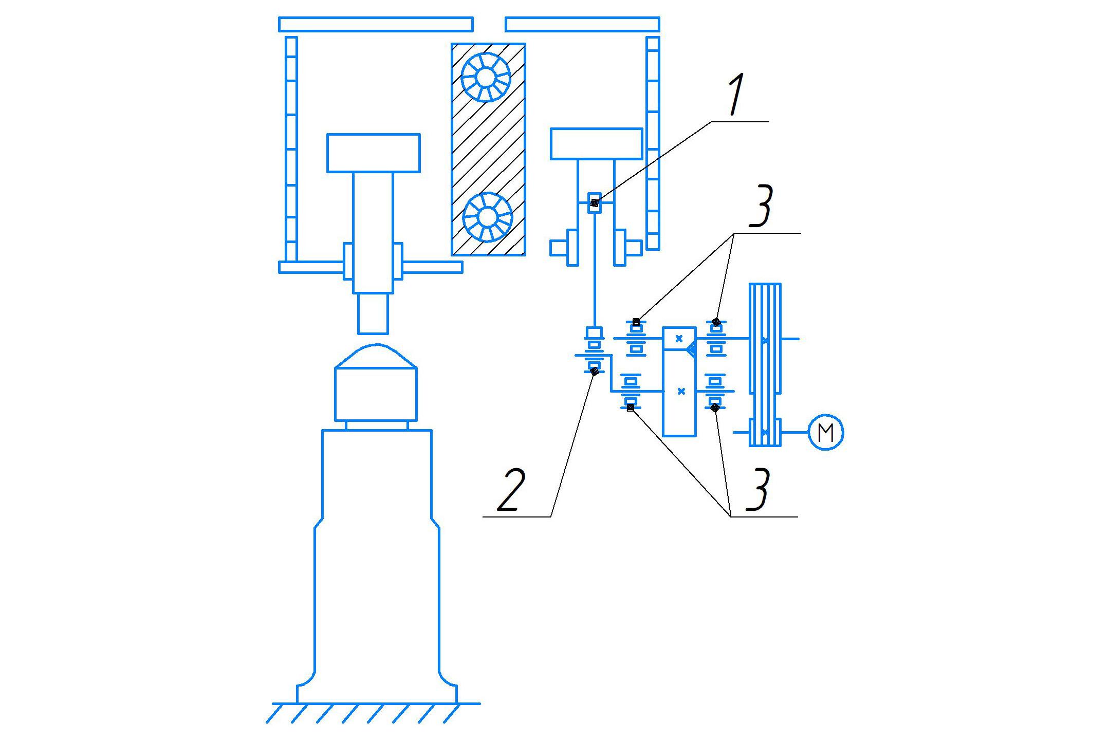 Кинематическая схема  молота МА4132