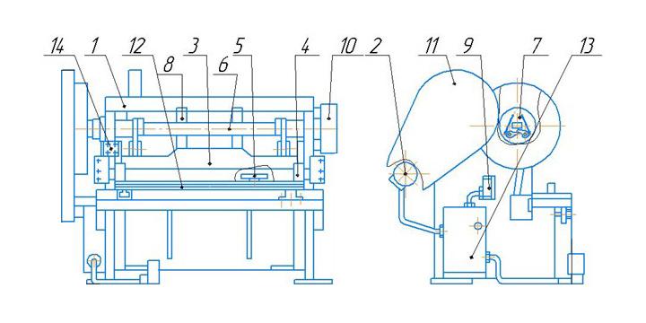 Общий вид ножниц  МНГ12x2500