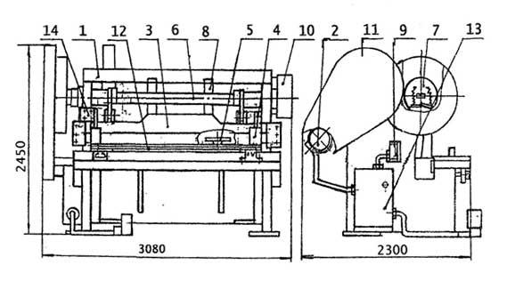 Общий вид с обозначением составных частей ножниц кривошипных листовых  Н3122